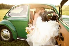 Love in a VW Bug! (Photo by Katelyn James Photography)