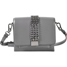 Karl Lagerfeld k/chain closure mini crossbody ($359) ❤ liked on Polyvore featuring bags, handbags, shoulder bags, grey, grey crossbody, grey handbags, grey crossbody purse, crossbody purse and mini handbags