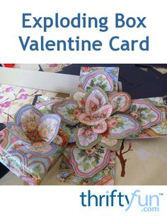 This is a guide about making an exploding box Valentine card. Show your love inexpensively by making a box that explodes into beautiful vintage wrapping paper.