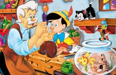 Geppetto adding the final retouches on his puppet Boy Pinocchio. This is truly quite the pretty Disney movie.