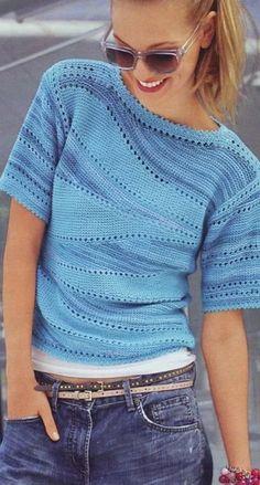 Не устареет то, что подчеркивает вашу женственность! Разные модели пуловеров, кофточек. Идеи, узоры в вязании спицами.   Ирина СНежная & Вязание   Яндекс Дзен Knitting Yarn, Baby Knitting, Knitting Patterns, Crochet Patterns, Crochet Clothes, Knit Dress, Knit Crochet, Shirts, Sewing