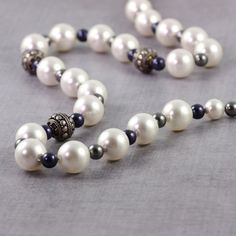 Blue Pearl Necklace Gray White Pearl Bridal Jewelry Sterling Bali Beads Spring Wedding Fashion