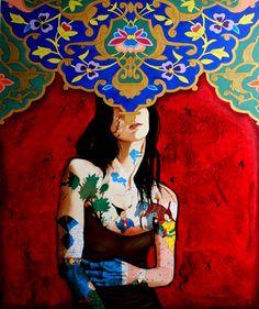 Unique Artwork by Alemeh Bagherian , fromLady of Peace series. Illustration Art Drawing, Art Drawings, Surealism Art, Aluminum Foil Art, Iranian Art, Affordable Art Fair, Painting Of Girl, Feminist Art, Textiles