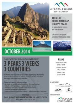 LAST CHANCE to sign up for our 2014 trek through South America! Challenge yourself and empower others! Click the pin to learn more and apply!