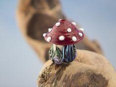 Lampwork toadstool with fairy door sra by DeniseAnnette on Etsy, $12.00