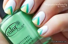 Green & Yellow nail art