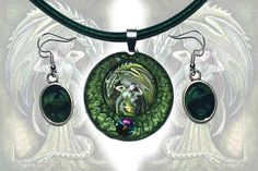 Necklace and earrings set  Dragon's Bride green fantasy
