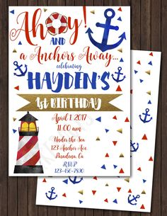 Nautical Birthday Invite - Navy, Red and Gold by ckfireboots on Etsy