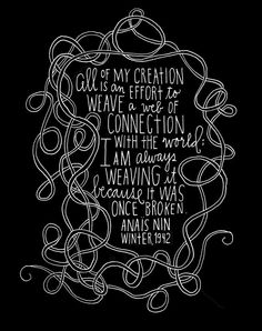 Anais Nin Quote  Web of Connection Archival Print  by lisacongdon, $18.00
