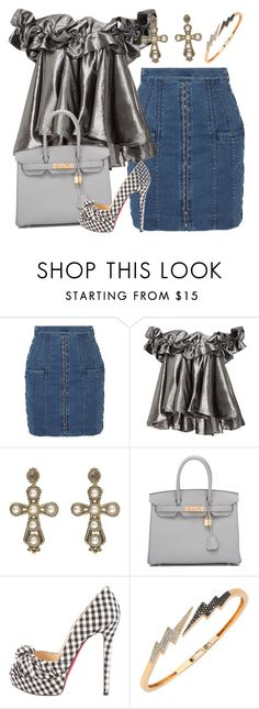 """""""Untitled #3137"""" by erinforde ❤ liked on Polyvore featuring Balmain, Dolce Vita, Hermès, Christian Louboutin and Bee Goddess"""