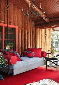 I LOVE everything about this front porch! Rustic and plush front porch swing bed Outdoor Lounge, Outdoor Rooms, Indoor Outdoor, Outdoor Daybed, Outdoor Kitchens, Outdoor Seating, Outdoor Living, Outdoor Furniture, Cabin Homes
