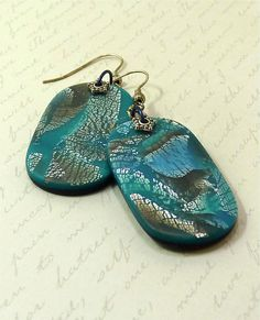 Polymer Clay Earrings Mokume Gane in Turquoise by Knightworkstudio Polymer Clay Pendant, Polymer Clay Art, Polymer Clay Earrings, Play Clay, Ceramic Jewelry, Polymers, Clay Creations, Clay Crafts, Sculpting