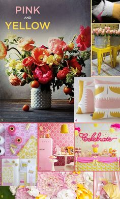 Pink and yellow -  inspiration board
