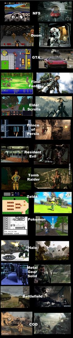 "Video game graphics, then and now. I can't believe what pokemon looks like now.. I played the ""then"""