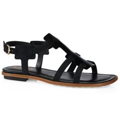 Leather sandals with geometrical panels at front, straps crafted in velvety nubuck, ankle strap with metal buckle and leather outsole with rubber pebbles.