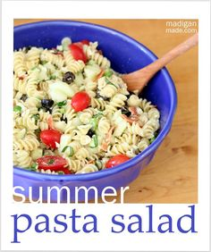 Summer pasta salad recipe...when this is on the table it is how i know it is summer!