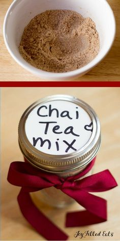 Instant Chai Tea Mix - Low Carb, THM S, FP & Dairy Free Options. Just mix this into a cup of brewed tea for an instant sweet, spicy, creamy chai! via Filled Eats - Gluten & Sugar Free Recipes Tea Mix Recipe, Chai Recipe, Mama Recipe, Thm Recipes, Sugar Free Recipes, Sugar Free Chai Tea Recipe, Dessert Recipes, Recipies, Healthy Recipes