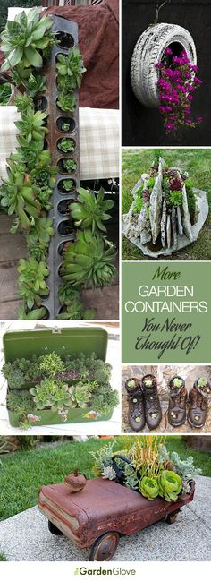 I love the tire with flowers: More Garden Containers You Never Thought Of • Tons of Tips & Ideas! Flower Pots, Garden Inspiration, Garden Containers, Plants, Planting Flowers, Diy Garden, Garden Art, Yard Decor, Garden Projects