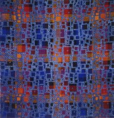 "Squares, 2000, 16x15"", pick-up double weave"