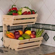 2 tier Wall mountable handmade vegetable& rack Classic, made from first class planed pain. This solid racks will be a great and useful addition to your kitchen Rack is sold fully assembled. Vegetable Rack, Vegetable Storage, Produce Storage, Fruit Storage, Food Storage, Storage Ideas, Pallet Furniture, Kitchen Furniture, Kitchen Decor