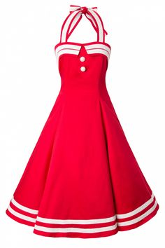 Collectif Clothing - COLLECTIF 50s Sindy Doll Sailor red swing dress retro jurk rood w