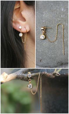 gold filled Threaded earrings threader thread cubic zirconia stud dangle drop double hook 2 piercings set of two connected earrings Ear Jewelry, Gold Jewelry, Jewelry Accessories, Fine Jewelry, Vintage Jewelry, Jewellery, Trendy Accessories, Antique Jewelry, Jewelry Box