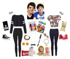 """""""A Phantastic Friendship- Dan and Phil BFF outfit set"""" by aprincessesmanydresses ❤ liked on Polyvore featuring Topshop, WearAll, J Brand, Givenchy, Casetify, Converse, Kate Spade and Betsey Johnson"""