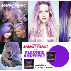 fantasy purple dye for hair manic panic electric amethyst Manic Panic Electric Amethyst, Manic Panic Purple Haze, Manic Panic Hair, Aqua Hair, Lilac Hair, Hair Color Purple, Cool Hair Color, Hair Colors, Purple Dye