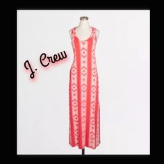 J. CREW FACTORY KNIT RACERBACK MAXI DRESS XXS Gorgeous!! NEW WITH TAGS ATTACHED. PERFECT FOR FALL PAIRED WITH A BLAZER OR CARDIGAN! J. CREW FACTORY KNIT RACERBACK MAXI DRESS IN IKAT. SIZE XXS.  Viscose/elastane. Falls to ankle. Machine wash. Import. Color-burnished tribal Light,airy, beach knit, very stretchy.                         BUNDLE & SAVE 20%! HAPPY POSHING!  J. Crew Dresses Maxi