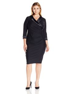 9a45409cb0e9 Awesome Alex Evenings Women s Plus Size Short Sheath Dress with Surplus  Neckline and Satin Cuff