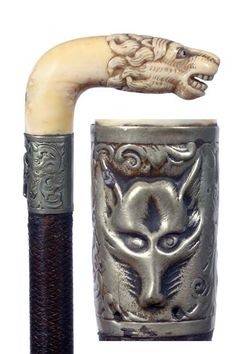 12: Antique cane and walking stick Ivory Lion : Lot 12