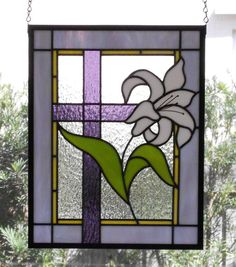 Lily with Cross Stained Glass Panel, Stained Glass Window Hanging, Window Panel… Stained Glass Quilt, Stained Glass Flowers, Faux Stained Glass, Stained Glass Designs, Stained Glass Panels, Stained Glass Projects, Stained Glass Patterns, Leaded Glass, Origami