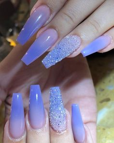 Best Coffin Nails Ideas That Suit Everyone Beautiful ombre purple coffin nails with accent purple glitter nail!Beautiful ombre purple coffin nails with accent purple glitter nail! Ombre Nail Designs, Nail Designs Spring, Acrylic Nail Designs, Nail Art Designs, Nails Yellow, Purple Glitter Nails, Glitter Art, Purple Nails With Design, Blue Ombre Nails