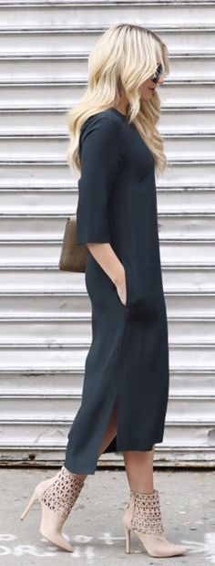 refined spring outfits / Black Maxi Dress / Beige Leather Booties