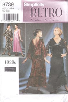 Simplicity 8739 1920s Dress Pattern Great Gatsby Downton Abbey Flapper Womens Costume Size 4 6 8 Bust 29 30 31, 16 18 20 OR 10 12 14 UNCUT