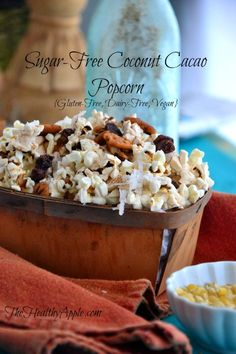 Sugar-Free Coconut Cacao Popcorn {Gluten-Free, Dairy-Free, Vegan} #glutenfree