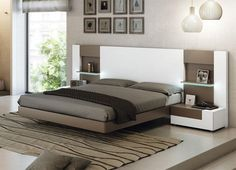 Contemporary kingsize or double bed in white and cappuccino with optional 2 drawer bedside cabinets