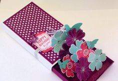"""ner pop-up supports, take 3 pieces of card stock cut to 2.5cm x 8.5cm (1"""" x 3-3/8""""), and score each of them at 1.2cm (1/2""""). Fold and secure..."""
