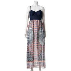 Juniors' Trixxi Lace Chiffon Maxi Dress, Teens, Size: Medium, Blue (Navy)
