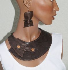 Chocolate Brown Leather Bib Necklace by ElegantElementsOnlin