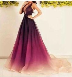 Gradient purple Prom Dresses,A-line prom dress,long prom Dress,formal prom dress,new arrive evening dress