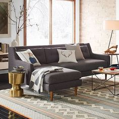 Crosby 2-Piece Chaise Sectional #westelm For front living, in configuration shown in photo; This has a little bit for formal-ness to it, but is also cosy and comfortable; I could see the following colors working well:  Heathered Weave, Cayenne; Linen Weave, Campfire; or any number of the grey options (e.g., Twill gravel, Twill stone, Heathered Tween cement, Heathered Crosshatch, feather gray).  Also comes as a simple sofa, so less expensive options exist.