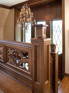 Tudor home's staircase with quatrefoil design (Gothic) -- Landmark Photography -- Eskuche Design Staircase Railing Design, Iron Stair Railing, Home Stairs Design, Wood Staircase, Wooden Stairs, Balcony Grill Design, Balcony Railing Design, Style At Home, Wooden Front Door Design