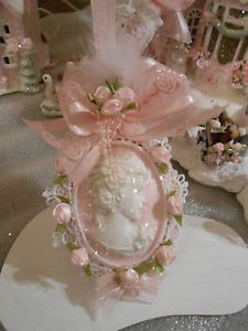 Victorian Christmas Ornaments | Sparkling Pink Shabby Victorian Cameo Christmas Ornament Chic Roses ...