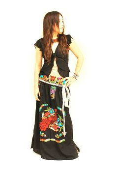 772f7ce702c Noche vintage Mexican embroidered boho maxi skirt dress convertible from Aida  Coronado on Etsy