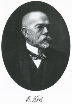 Robert Koch (1843 - 1910).  Médico y cbacteriólogo alemán, Considerado el padre de la bacteriología. Descubrió el bacilo de la tuberculosis y el bacilo del cólera. Fue galardonado con el Nobel de Medicina en 1905.