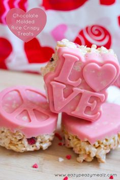 Valentines Day Chocolate Molded Rice Crispy Treats - great for gifting to friends, teachers, family, or for your own tastebuds!