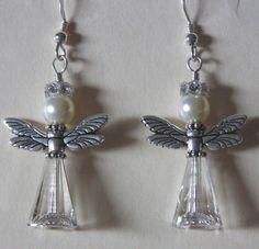 Swarosvki Crystal Angel Earrings -  sterling silver earrings with crystal rondelles for the halo. www.artisme.com