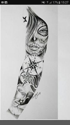 I love you always always forever forever always forever love ya ya love ya I love you ❤️ Skull Girl Tattoo, Skull Tattoos, Rose Tattoos, Body Art Tattoos, Hand Tattoos, Star Sleeve Tattoo, Full Sleeve Tattoo Design, Sketch Tattoo Design, Angel Tattoo Designs