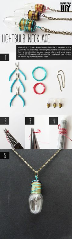 Next up, Stephanie from Stuff Steph Does creates a lightbulb necklace. | 3 Crazy Things To Do With Old Lightbulbs